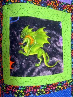 Dragon quilt - green dragon
