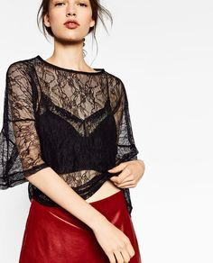 Image 2 of FLOUNCE SLEEVE LACE T-SHIRT from Zara