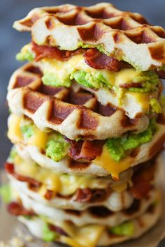 Bacon and Avocado Waffle Grilled Cheese - Crisp bacon, creamy avocado and melted cheesy goodness made right in a waffle iron! Easy peasy and mess-free! iron recipes dinner grilled cheeses Bacon and Avocado Waffle Grilled Cheese Breakfast Dishes, Breakfast Recipes, Pork Recipes, Cooking Recipes, Freezer Recipes, Freezer Cooking, Cooking Tips, Cheese Recipes, Food Tips
