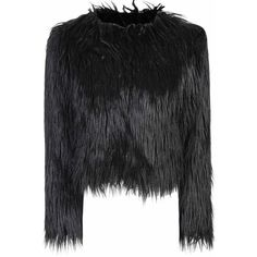 Black Faux Fur Jacket ($105) ❤ liked on Polyvore featuring outerwear, jackets, black, wrap jacket, collarless jacket, long sleeve jacket, fake fur jacket und black faux fur jacket