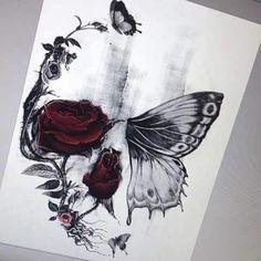 Bildresultat för half butterfly half skull tattoo