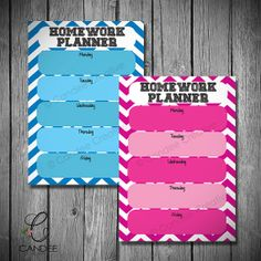 Homework Planner  BLUE  A4 instant download by CandeeCreative, $4.00
