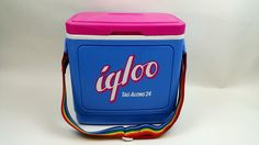 Vintage Igloo Tag-Along 24 Cooler Rainbow Strap Locking CanHolder Lid RARE COLOR