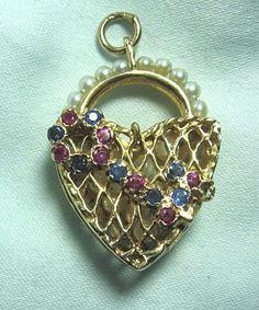 "14K Gold & Gemstone 3-D Charm / Pendant Heart Basket w Key 10.3 grams 1 1/4"" in Jewelry & Watches, Vintage & Antique Jewelry, Fine, Charms & Charm Bracelets | eBay"
