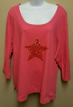 Quacker Factory 3X pink sequined star 3/4 sleeves top cotton plus sized #QuackerFactory #Blouse #Casual