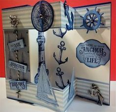 A Stamping Nana's Blog: Fun Fancy Fold Come Sail With Me Card Fancy Fold Cards, Folded Cards, Nautical Cards, Nautical Anchor, Birthday Cards For Men, Male Birthday, Sail Away, Stamping Up Cards, Masculine Cards