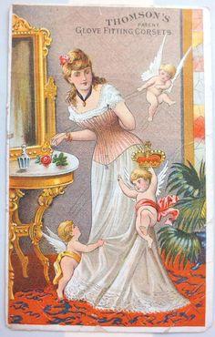 Victorian Trade Card*Thomson's Glove Fitting Corsets*Cherubs*Pretty Woman*Rare