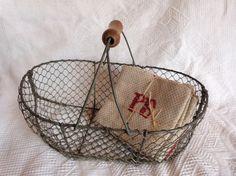 Antique French wire harvest basket wirework by MyFrenchAntiqueShop, $144.00