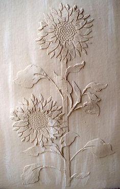 Plaster Stencil Freestyle Sunflower | Walls Stencils, Plaster Stencils, Painting Stencils, Plaster Molds