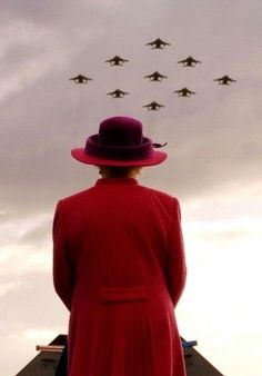 Queen Elizabeth II watches a flypast by RAF Jaguars at RAF Coltishall Airbase in Norfolk (2005)