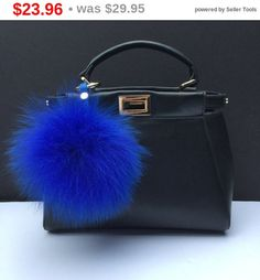 SUMMER CLEARANCE WEEKEND Royal Blue Fox Fur Pom Pom luxury bag pendant with leather strap metal buckle key ring chain bag charm