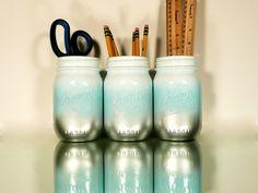 Painted Mason Jars - Vases - Home / Office Decor - White Silver Aqua Ombre. $15.00, via Etsy.