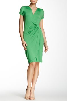 Solid Short Sleeve Wrap Front Dress by Amelia on @HauteLook