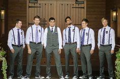 suspenders with purple tie, groomsmen   groomsmen in suspenders and groom in vest