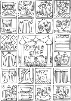 COffee Shop Coloring Page Free Printable By Dover Publications