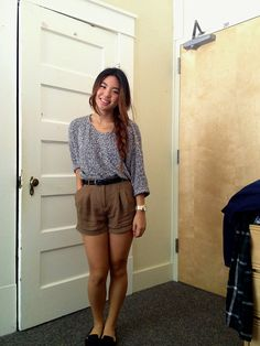 American Apparel Speckled Top, Forever 21 High Waisted Shorts, Marc By Marc Jacobs Gold Watch, Target Loafers