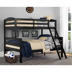 Dorel Living Brady Twin over Full Solid Wood Kid's Bunk Bed with Ladder, Black - $315.57