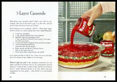 Start heating oven to moderate (350 F.). Place these ingredients in layers in a 2-qt. baking dish with a tight-fitting lid: Original Recipe for Hunts 7-LAYER CASSEROLE (Circa 1950's) 1. 1 cup…