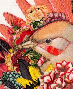 Melbourne, Australia is the home of graphic designer and illustrator Laura McKellar. Her embroidery art really caught my eye! Bird Embroidery, Embroidery Stitches, Art Fil, Contemporary Embroidery, Textiles, Thread Art, Bird Art, Fabric Art, Textile Art