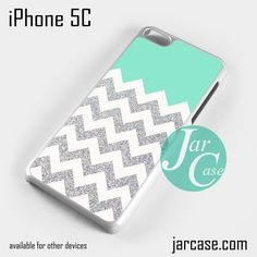 Blue Silver Glitter Chevron Phone case for iPhone 5C and other iPhone devices