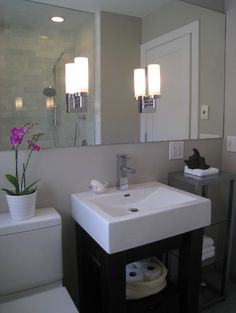 modern small bath - contemporary - like the large mirror with lights set into it