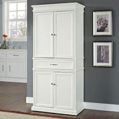 Crosley Parsons White Storage Cabinet at The Home Depot - Mobile White Pantry, Crosley Furniture, Kitchen Cabinet Storage, Furniture Deals, White Storage, Pantry Storage, White Storage Cabinets, Storage, Large Cabinet