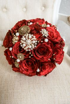 Red and gold silk wedding bouquet. Made with by LaurelSilkFlorist