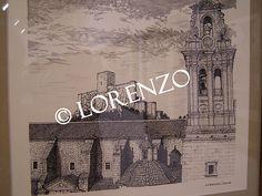 Almansa, Torre e Iglesia de la Asuncion, con el Castillo al fondo. Dibujo a plumilla sobre papel
