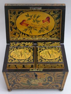 ~ Beautifully Painted Penwork Tea Caddy ~                                                                                                                                                                                 More