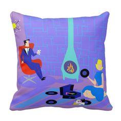 Retro Evening at Home Throw Pillow--#midcenturymodern #retro #1960s #decor #decorating #pillows #vinylrecords #Zazzle