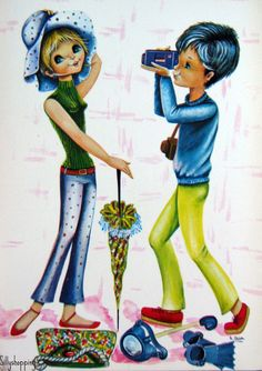 Vintage Big Eyed Couple Postcard | por Sillyshopping