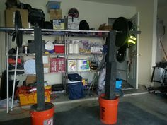 DIY homemade squat rack and bench press stand made by me and my hubs :-) Now we can do some WODs in our garage!
