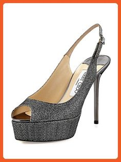 58c56e5964c8 Jimmy Choo Silver Glitter Platform Slingback Shoes 6 - Pumps for women  ( Amazon Partner