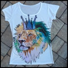 """LION with CROWN T SHIRT Adorable  gorgeous graphic with beautiful colors, soft cotton/poly blend fabric, one size shoulder width (cm) :38-40(15.7"""") Bust(cm) 94(23.5"""") Length(cm) 60 (37"""") solid white back, NWOT Tops Tees - Short Sleeve"""
