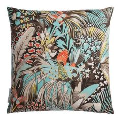 Discover the Matthew Williamson Jungle Beat Cushion - Coral / Mint at Amara Matthew Williamson, Scatter Cushions, Throw Pillows, Osborne And Little, Blue Poppy, Luxury Sofa, Deco, Beats, Fabric