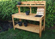 Potting bench with potting soil insert. Note: include trash bag holder.