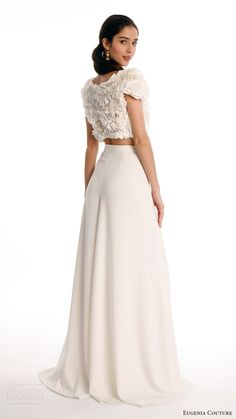 eugenia couture joy bridal spring 2017 short sleeves ruffle crop top crepe culotte pants (blanche) bv
