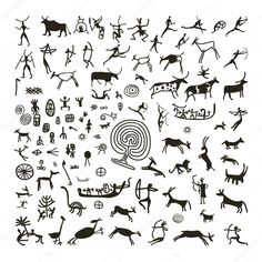 Petroglyphs Illustrations and Clip Art. 267 Petroglyphs royalty free illustrations and drawings available to search from thousands of stock vector EPS clipart graphic designers. Art Pariétal, Paleolithic Art, Stone Age Art, African Symbols, Cave Drawings, Design Tattoo, Illustration, Native Art, Tribal Art