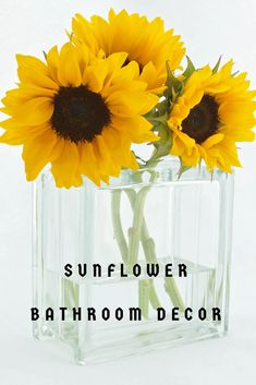 Sunflower Bathroom Decor Ideas For Sunflower Themed Bathroom Decorations - Popular, Trendy, Unique, Pretty & Beautiful Sunflower Bathroom Accessories Sunflower Themed Kitchen, Sunflower Bathroom, Sunflower Kitchen Decor, Bathroom Plans, Small Bathroom, Bathroom Ideas, Bathrooms, Sunflower Gifts, Sunflower Decorations