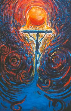 This painting by Daniel Bonnell moves me. I see the love of God flowing through the cross & and swirling out to redeem the world.