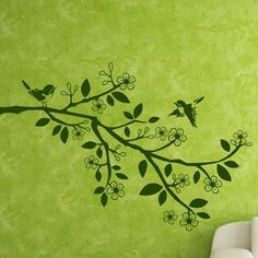 "Style and Apply Sparrow Branch Wall Decal Color: Silver, Size: 46"" H x 71"" W"