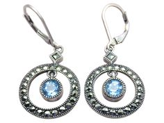 Light up your look in decorative sterling silver Judith Jack blue topaz earrings, intricately designed with marcasite. | eBay!