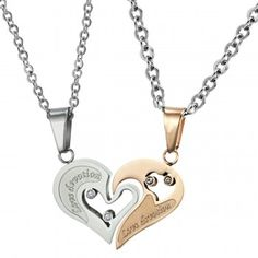 Titanium Rose Gold and Silver Sweetheart Lovers Pendants with Rhinestones and Free Chains C537