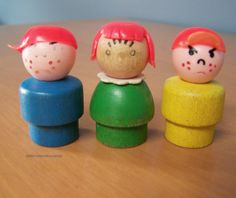 Set of 3 Vintage Fisher Price Little People Figures – Freckle Faced Children – boys with hats, red-haired girl by RetrowareExchange on Etsy