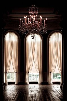 This is gorgeous! Pale pink (or are they ivory?) sheers in a dark room look so good when natural light filters in!