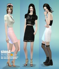 H-line lace skirt at Marigold via Sims 4 Updates