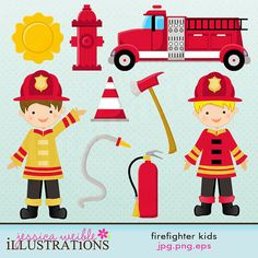 Firefighter Kids Cute Digital Clipart for Card Design, Scrapbooking, and Web Design via Etsy