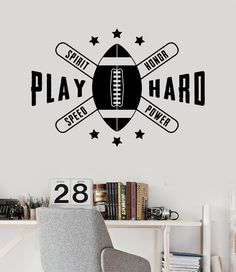 Vinyl Wall Decal American Football Quote Ball Boy Room Stickers Mural Unique Gift (ig3512)