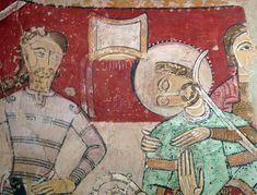 1170.Martyrdom of Thomas Becket. Santa Maria de Terrassa, martiri de Sant Tomàs Becket, pintura romànica.