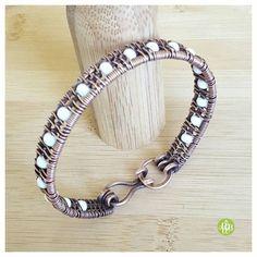 Hey, I found this really awesome Etsy listing at https://www.etsy.com/listing/275790082/white-beaded-bracelet-copper-bracelet
